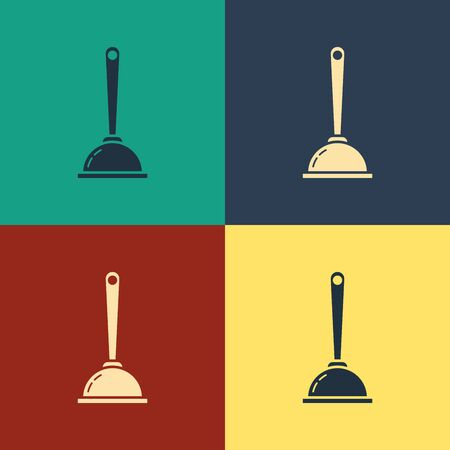 Color Rubber plunger with wooden handle for pipe cleaning icon isolated on color background. Toilet plunger. Vintage style drawing. Vector Illustration Vectores