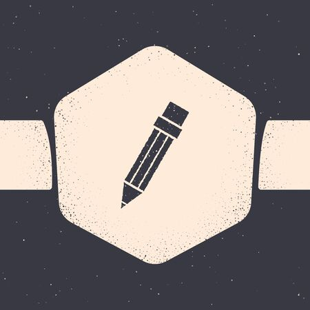 Grunge Pencil with eraser icon isolated on grey background. Drawing and educational tools. School office symbol. Monochrome vintage drawing. Vector Illustration
