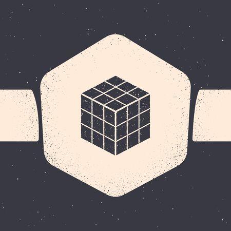 Grunge cube icon isolated on grey background. Mechanical puzzle toy Illustration