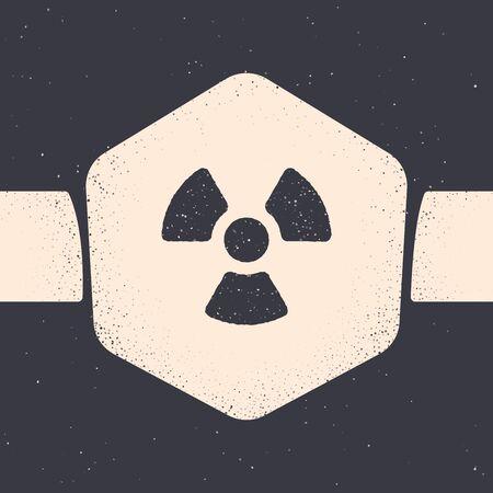 Grunge Radioactive icon isolated on grey background. Radioactive toxic symbol. Radiation Hazard sign. Monochrome vintage drawing. Vector Illustration
