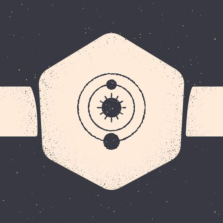 Grunge Solar system icon isolated on grey background. The planets revolve around the star. Monochrome vintage drawing. Vector Illustration