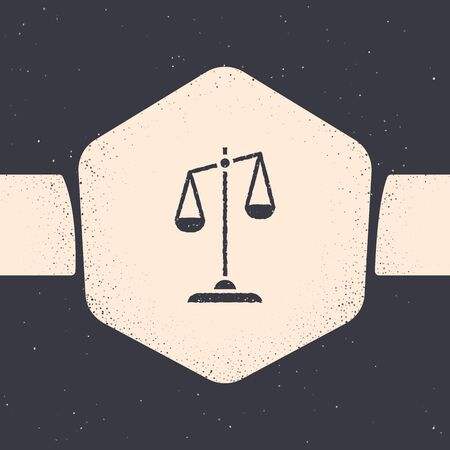 Grunge Scales of justice icon isolated on grey background. Court of law symbol. Balance scale sign. Monochrome vintage drawing. Vector Illustration