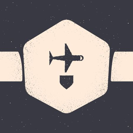 Grunge Plane with shield icon isolated on grey background. Flying airplane. Airliner insurance. Security, safety, protection, protect concept. Monochrome vintage drawing. Vector Illustration Ilustração