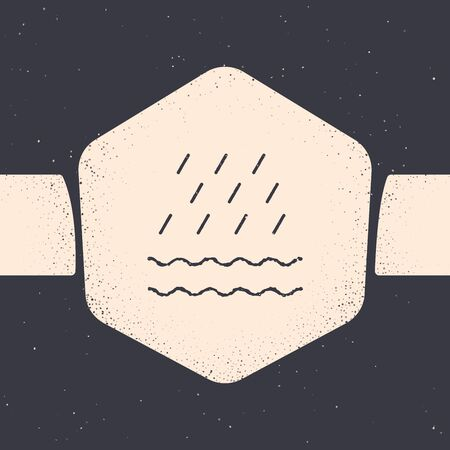 Grunge Rain and waves icon isolated on grey background. Rain cloud precipitation with rain drops. Monochrome vintage drawing. Vector Illustration 일러스트