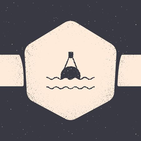 Grunge Floating buoy on the sea icon isolated on grey background. Monochrome vintage drawing. Vector Illustration
