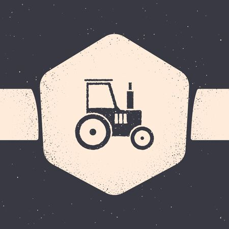 Grunge Tractor icon isolated on grey background. Monochrome vintage drawing. Vector Illustration Ilustração