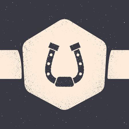 Grunge Horseshoe icon isolated on grey background. Monochrome vintage drawing. Vector Illustration Stock Illustratie