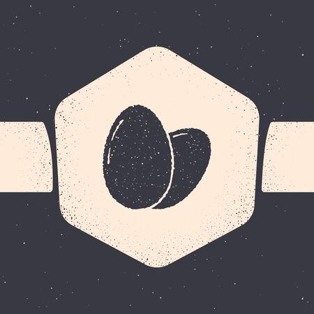 Grunge Chicken egg icon isolated on grey background. Monochrome vintage drawing. Vector Illustration Иллюстрация