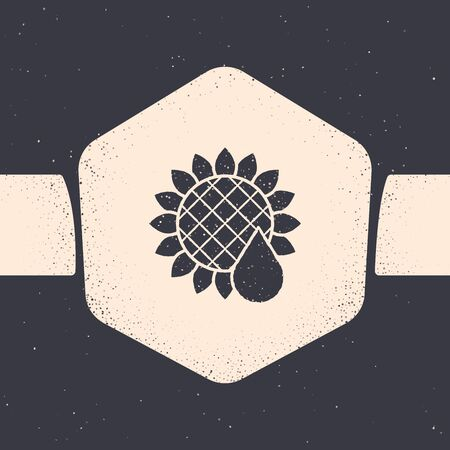 Grunge Sunflower icon isolated on grey background. Monochrome vintage drawing. Vector Illustration