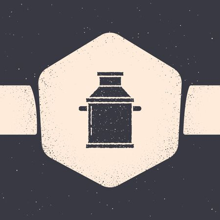 Grunge Can container for milk icon isolated on grey background. Monochrome vintage drawing. Vector Illustration