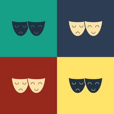 Color Comedy and tragedy theatrical masks icon isolated on color background. Vintage style drawing. Vector Illustration
