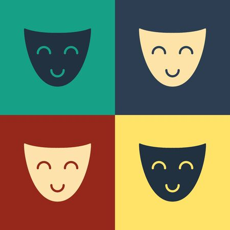 Color Comedy theatrical mask icon isolated on color background. Vintage style drawing. Vector Illustration 일러스트