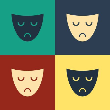 Color Drama theatrical mask icon isolated on color background. Vintage style drawing. Vector Illustration 일러스트