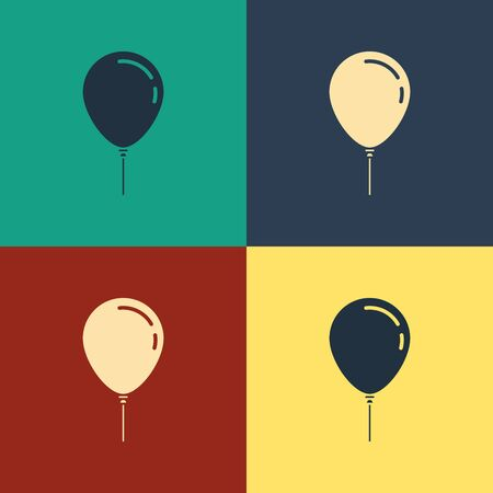 Color Balloon with ribbon icon isolated on color background. Vintage style drawing. Vector Illustration Ilustração
