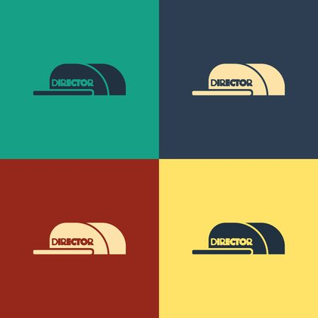 Color Cap with inscription director icon isolated on color background. Vintage style drawing. Vector Illustration