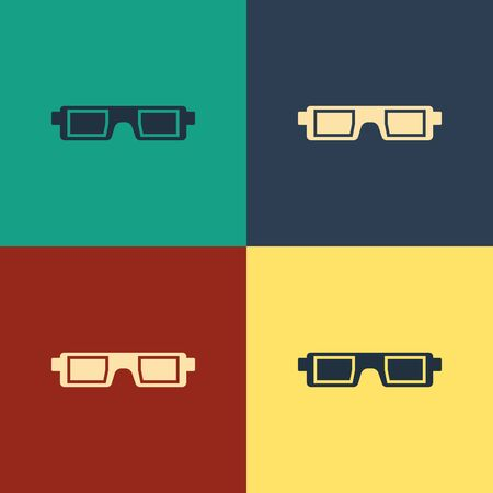 Color 3D cinema glasses icon isolated on color background. Vintage style drawing. Vector Illustration