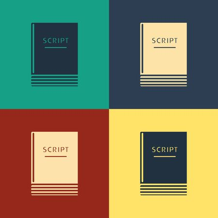 Color Scenario icon isolated on color background. Script reading concept for art project, films, theaters. Vintage style drawing. Vector Illustration Illusztráció
