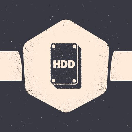 Grunge Hard disk drive HDD icon isolated on grey background. Monochrome vintage drawing. Vector Illustration