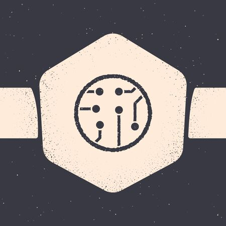 Grunge Processor icon isolated on grey background. CPU, central processing unit, microchip, microcircuit, computer processor, chip. Monochrome vintage drawing. Vector Illustration