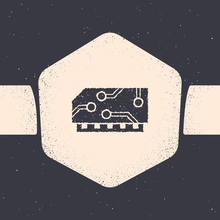 Grunge RAM, random access memory icon isolated on grey background. Monochrome vintage drawing. Vector Illustration Illusztráció