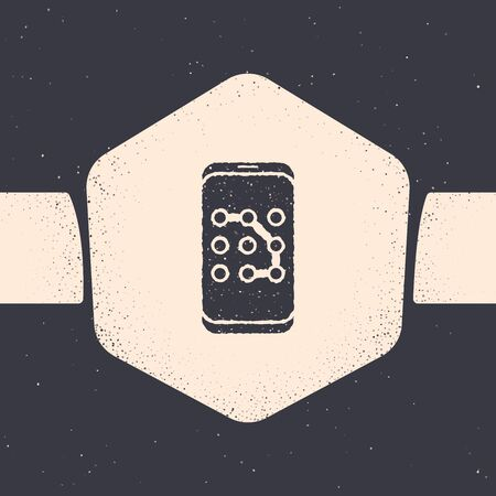 Grunge Mobile phone and graphic password protection icon isolated on grey background. Security, safety, personal access, user authorization. Monochrome vintage drawing. Vector Illustration Vettoriali