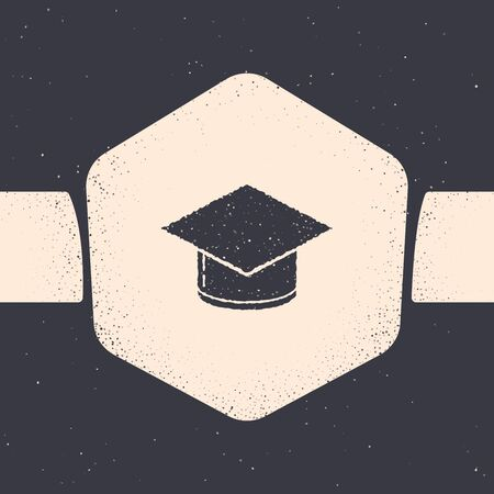 Grunge Graduation cap icon isolated on grey background. Graduation hat with tassel icon. Monochrome vintage drawing. Vector Illustration