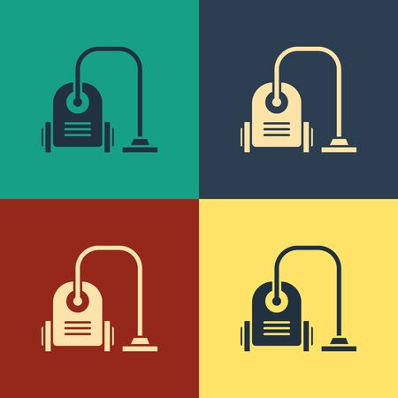 Color Vacuum cleaner icon isolated on color background. Vintage style drawing. Vector Illustration