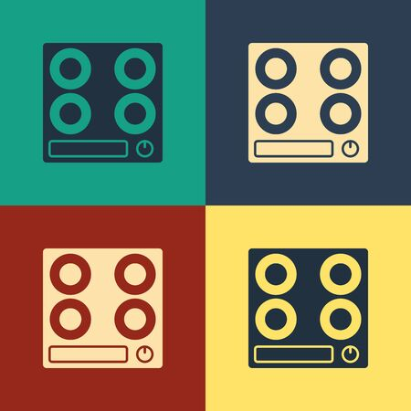 Color Gas stove icon isolated on color background. Cooktop sign. Hob with four circle burners. Vintage style drawing. Vector Illustration