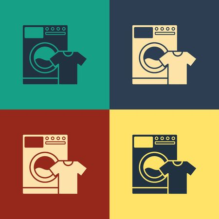 Color Washer and t-shirt icon isolated on color background. Washing machine icon. Clothes washer, laundry machine. Home appliance symbol. Vintage style drawing. Vector Illustration