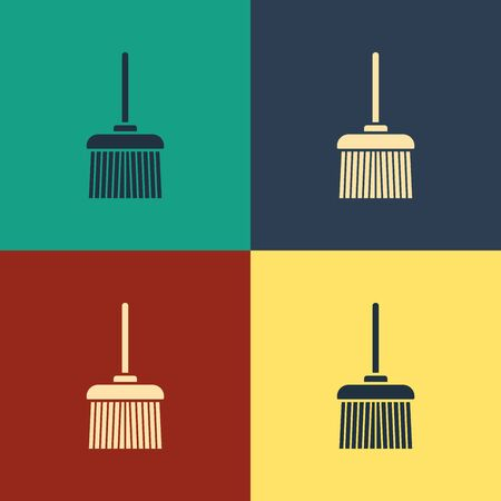 Color Handle broom icon isolated on color background. Cleaning service concept. Vintage style drawing. Vector Illustration
