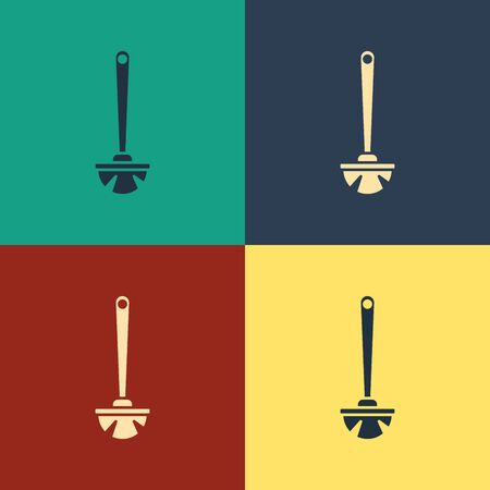 Color Toilet brush icon isolated on color background. Vintage style drawing. Vector Illustration