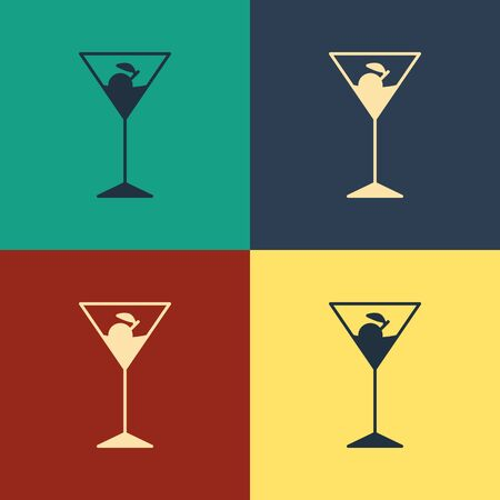 Color Martini glass icon isolated on color background. Cocktail icon. Wine glass icon. Vintage style drawing. Vector Illustration