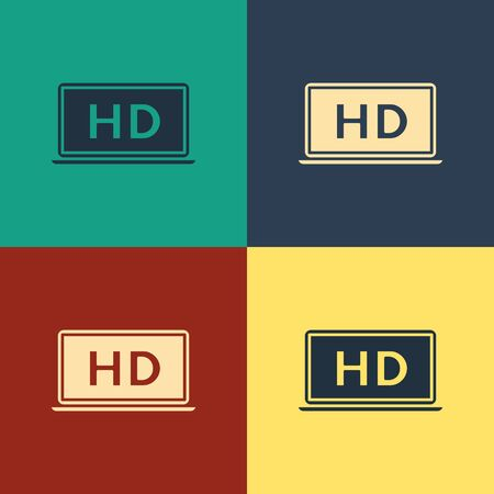 Color Laptop screen with HD video technology icon isolated on color background. Vintage style drawing. Vector Illustration