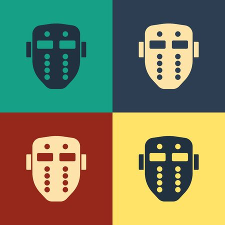 Color Hockey mask icon isolated on color background. Happy Halloween party. Vintage style drawing. Vector Illustration