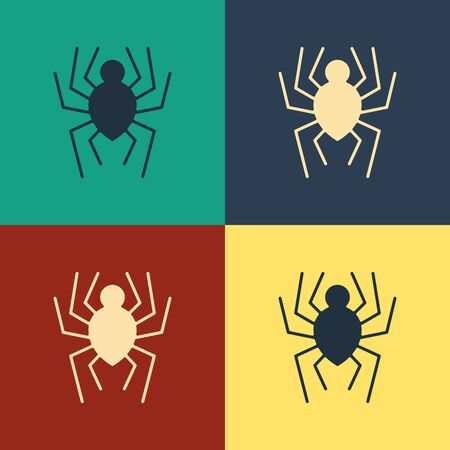 Color Spider icon isolated on color background. Happy Halloween party. Vintage style drawing. Vector Illustration