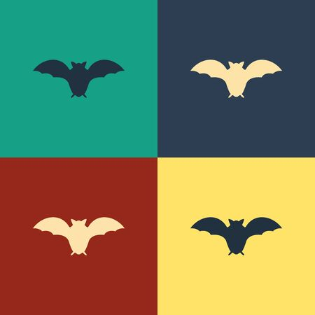 Color Flying bat icon isolated on color background. Vintage style drawing. Vector Illustration Ilustração