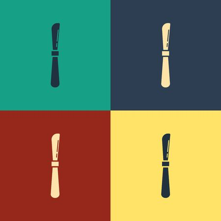 Color Knife icon isolated on color background. Cutlery symbol. Vintage style drawing. Vector Illustration Illusztráció