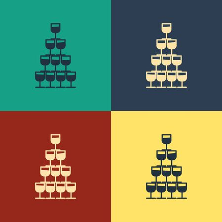 Color Wine glasses stacked in a pyramid tower icon isolated on color background. Wineglass sign. Vintage style drawing. Vector Illustration