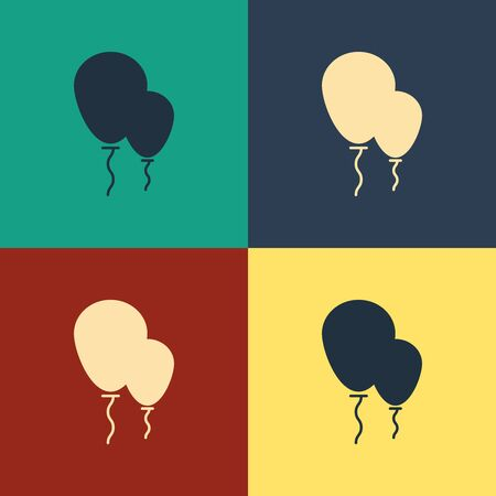 Color Balloons with ribbon icon isolated on color background. Vintage style drawing. Vector Illustration Ilustração