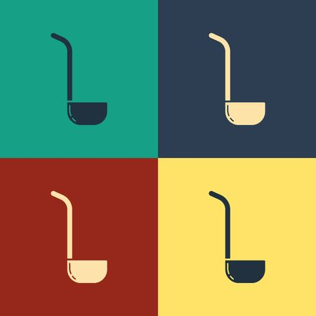 Color Kitchen ladle icon isolated on color background. Cooking utensil. Cutlery spoon sign. Vintage style drawing. Vector Illustration Illusztráció