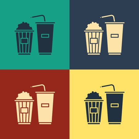 Color Popcorn in cardboard box and paper glass with drinking straw and water icon isolated on color background. Soda drink glass. Vintage style drawing. Vector Illustration