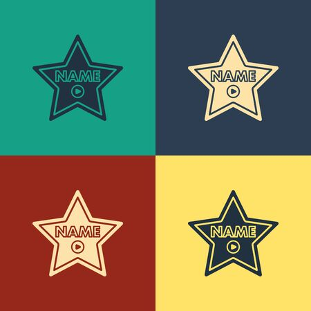 Color Hollywood walk of fame star on celebrity boulevard icon isolated on color background. Hollywood, famous sidewalk, boulevard actor. Vintage style drawing. Vector Illustration  イラスト・ベクター素材