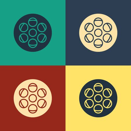 Color Film reel icon isolated on color background. Vintage style drawing. Vector Illustration Illustration