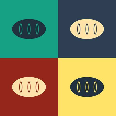 Color Bread loaf icon isolated on color background. Vintage style drawing. Vector Illustration Illustration
