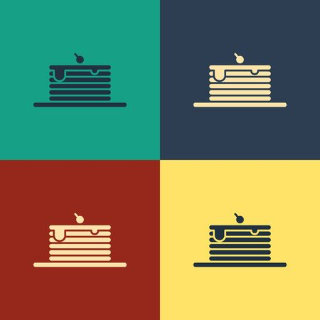 Color Stack of pancakes icon isolated on color background. Baking with syrup and cherry. Breakfast concept. Vintage style drawing. Vector Illustration Illustration