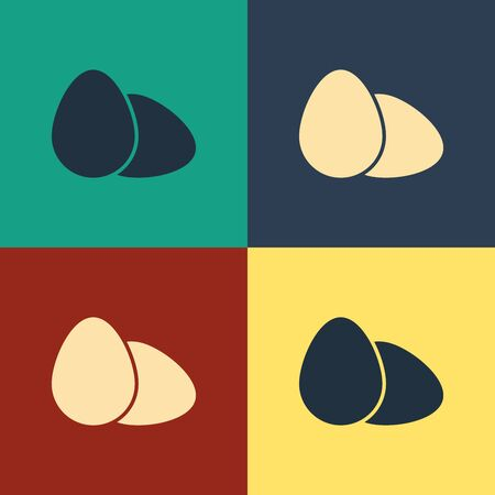 Color Chicken egg icon isolated on color background. Vintage style drawing. Vector Illustration