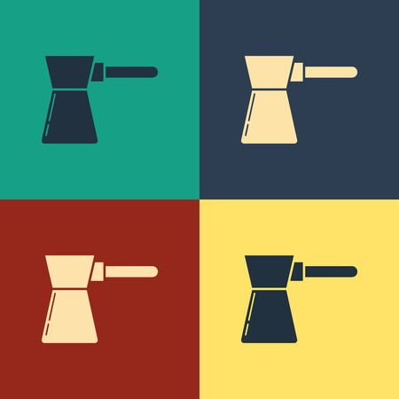 Color Coffee turk icon isolated on color background. Vintage style drawing. Vector Illustration Иллюстрация