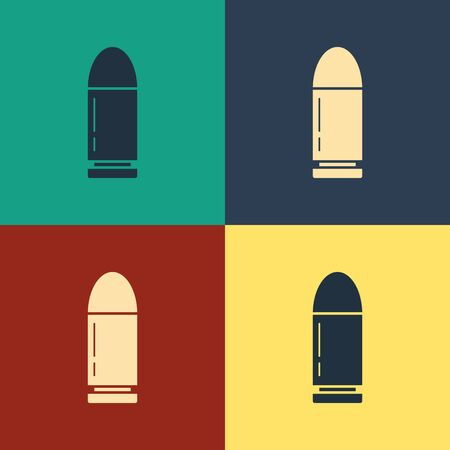 Color Bullet icon isolated on color background. Vintage style drawing. Vector Illustration