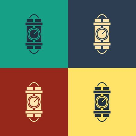 Color Detonate dynamite bomb stick and timer clock icon isolated on color background. Time bomb - explosion danger concept. Vintage style drawing. Vector Illustration Illustration