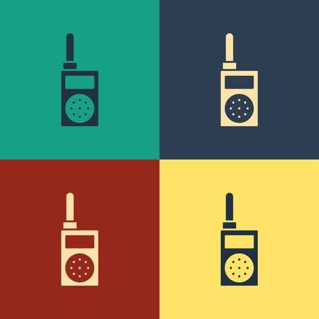 Color Walkie talkie icon isolated on color background. Portable radio transmitter icon. Radio transceiver sign. Vintage style drawing. Vector Illustration